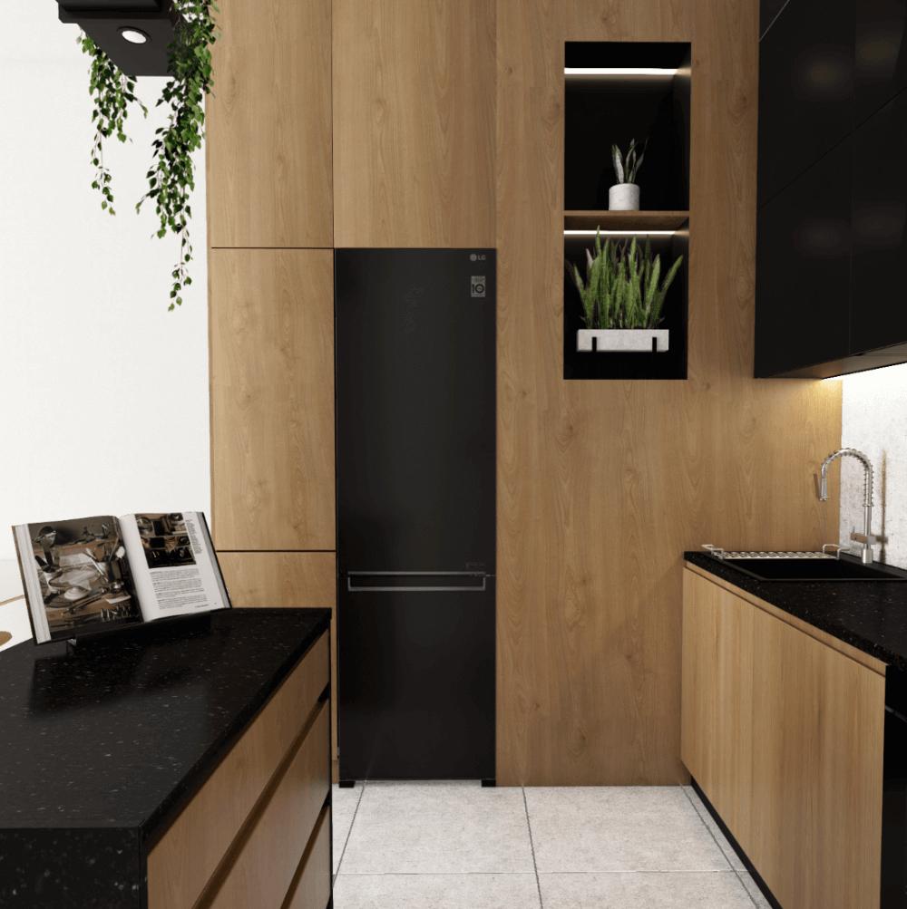 Czerń i drewno w kuchni
