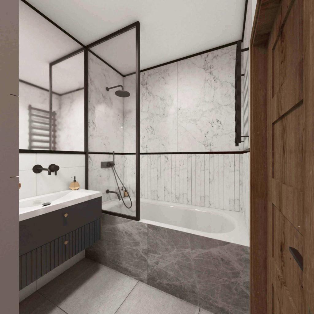 Wizualizacja łazienki z wanną i parawanem