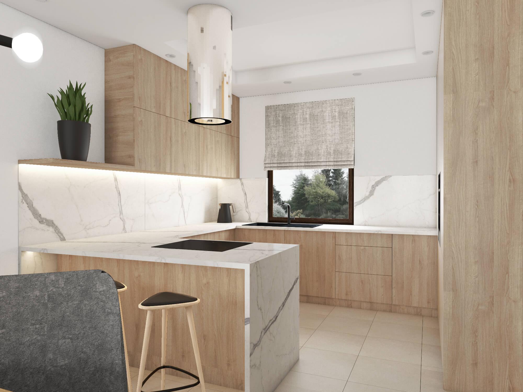 Biało drewniana kuchnia otwarta na salon