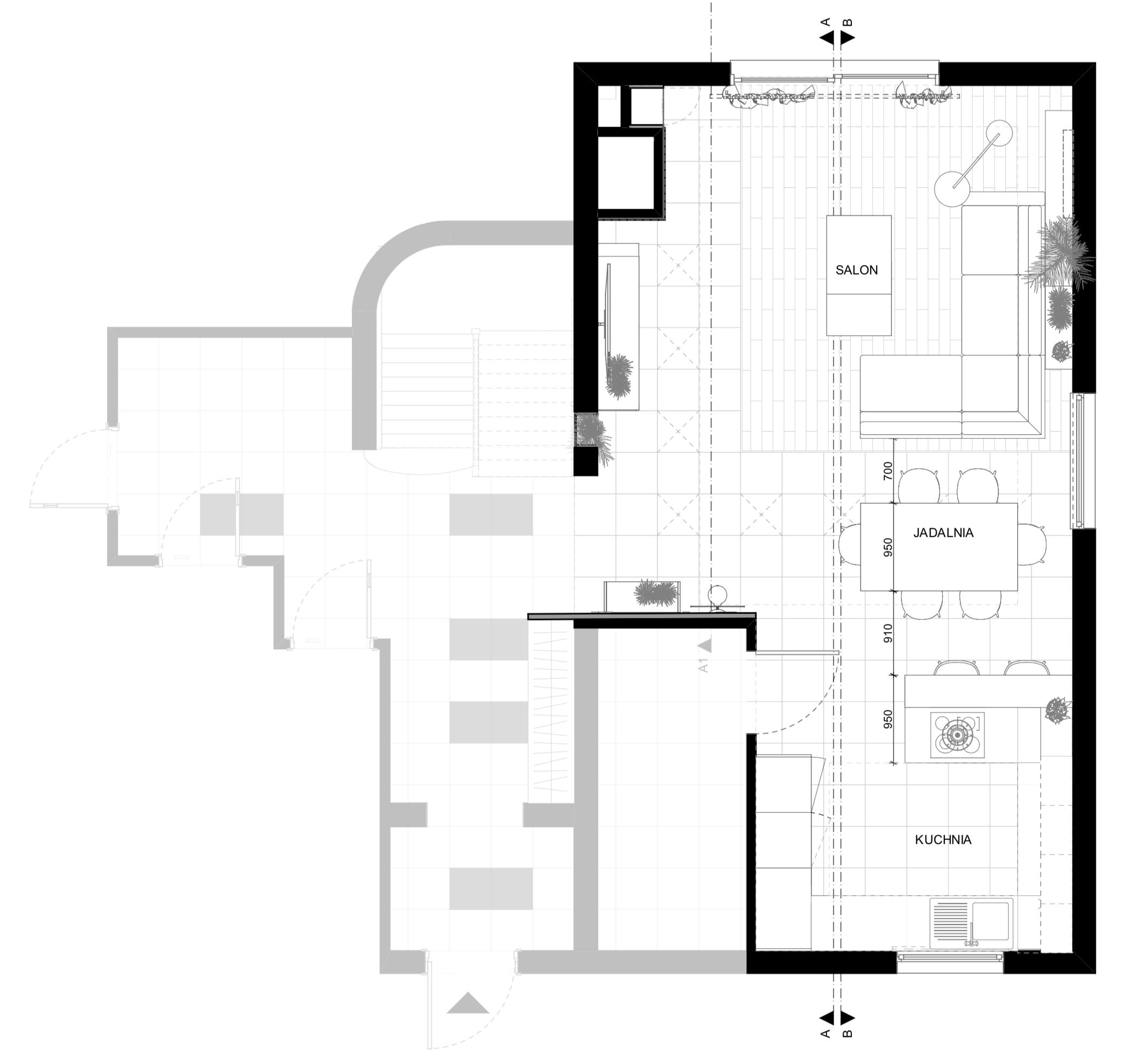 Kuchnia otwarta na salon w domu jednorodzinnym