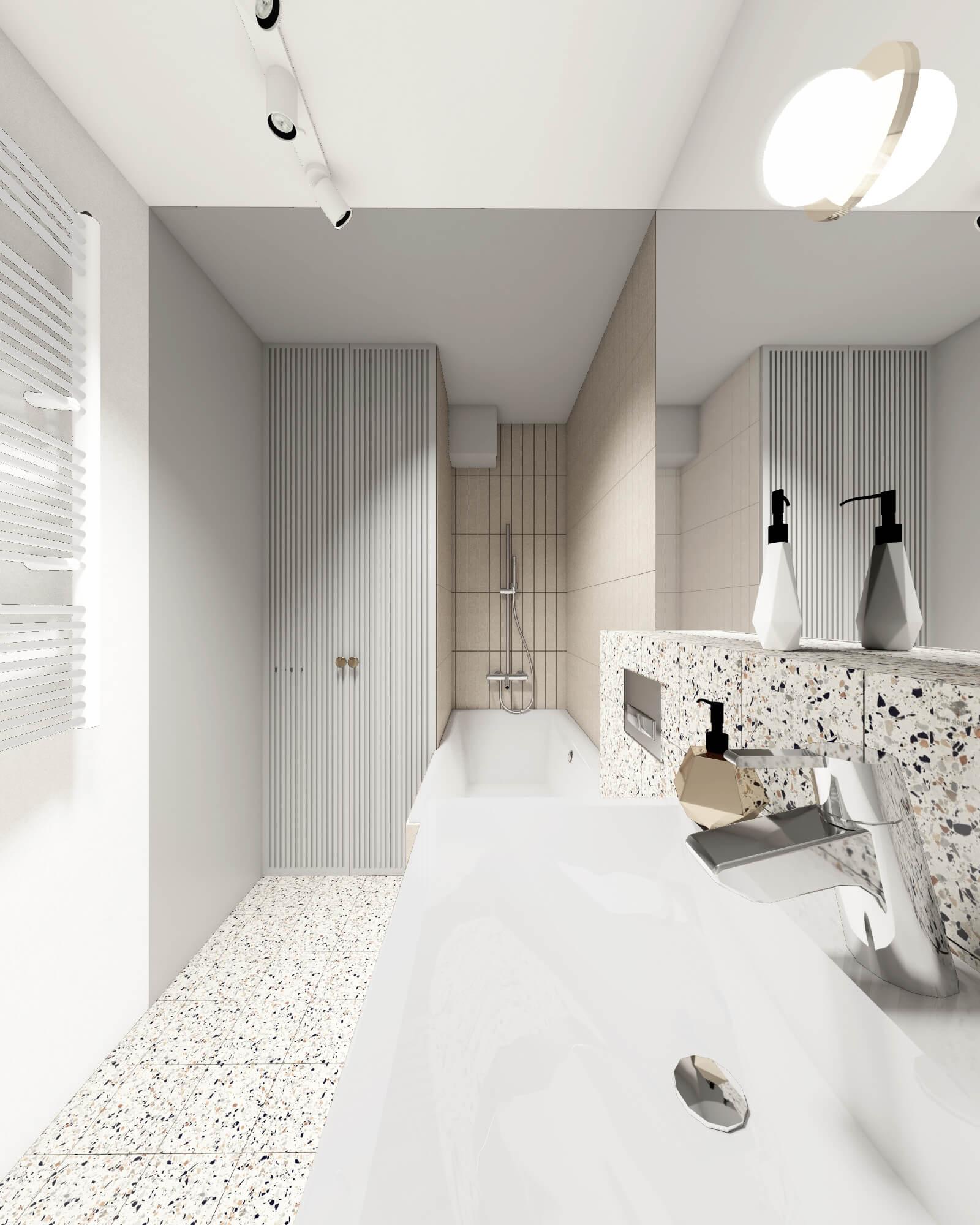Łazienka z zabudowaną pralką