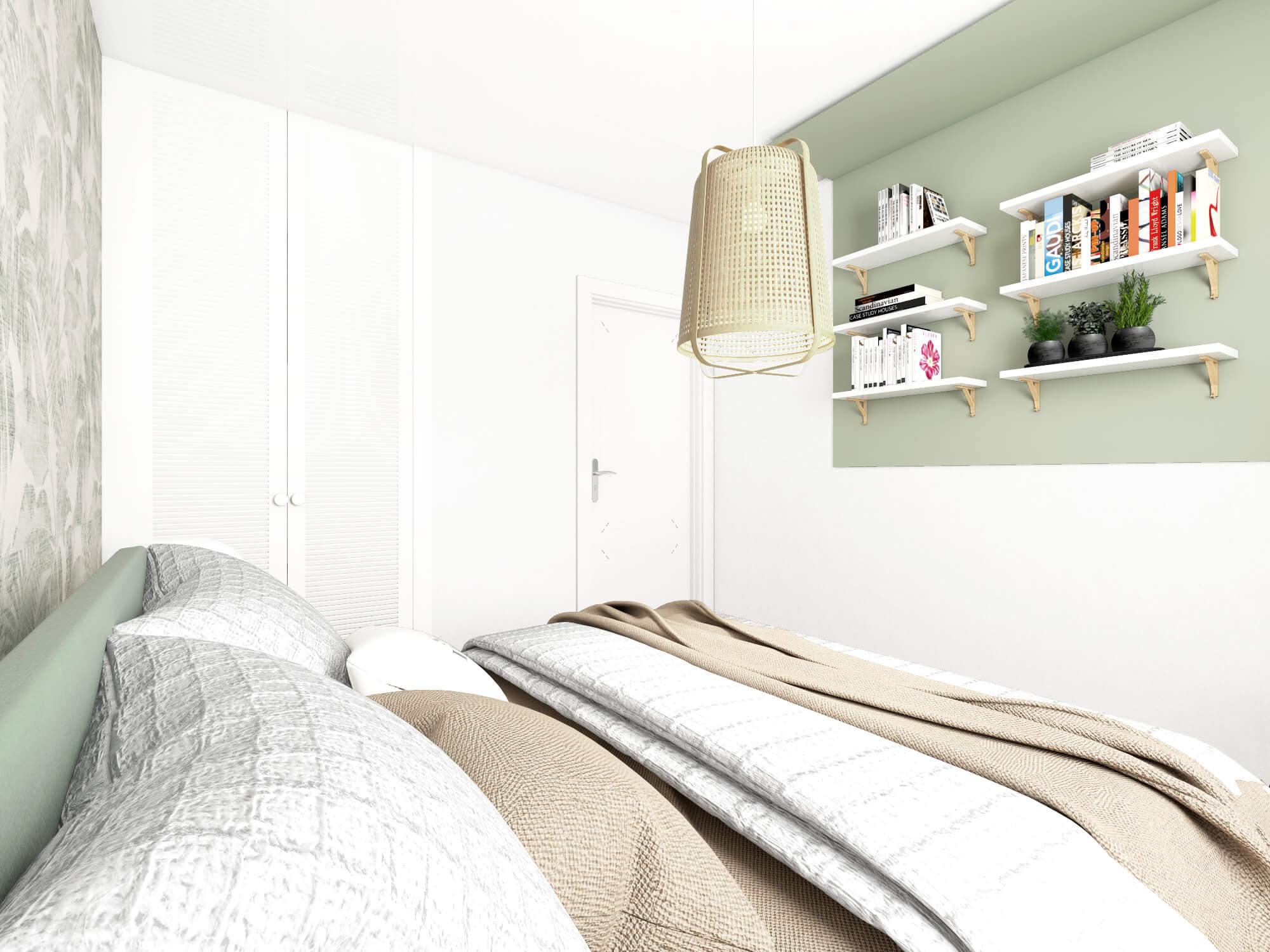 Sypialnia z garderobą w stylu Boho