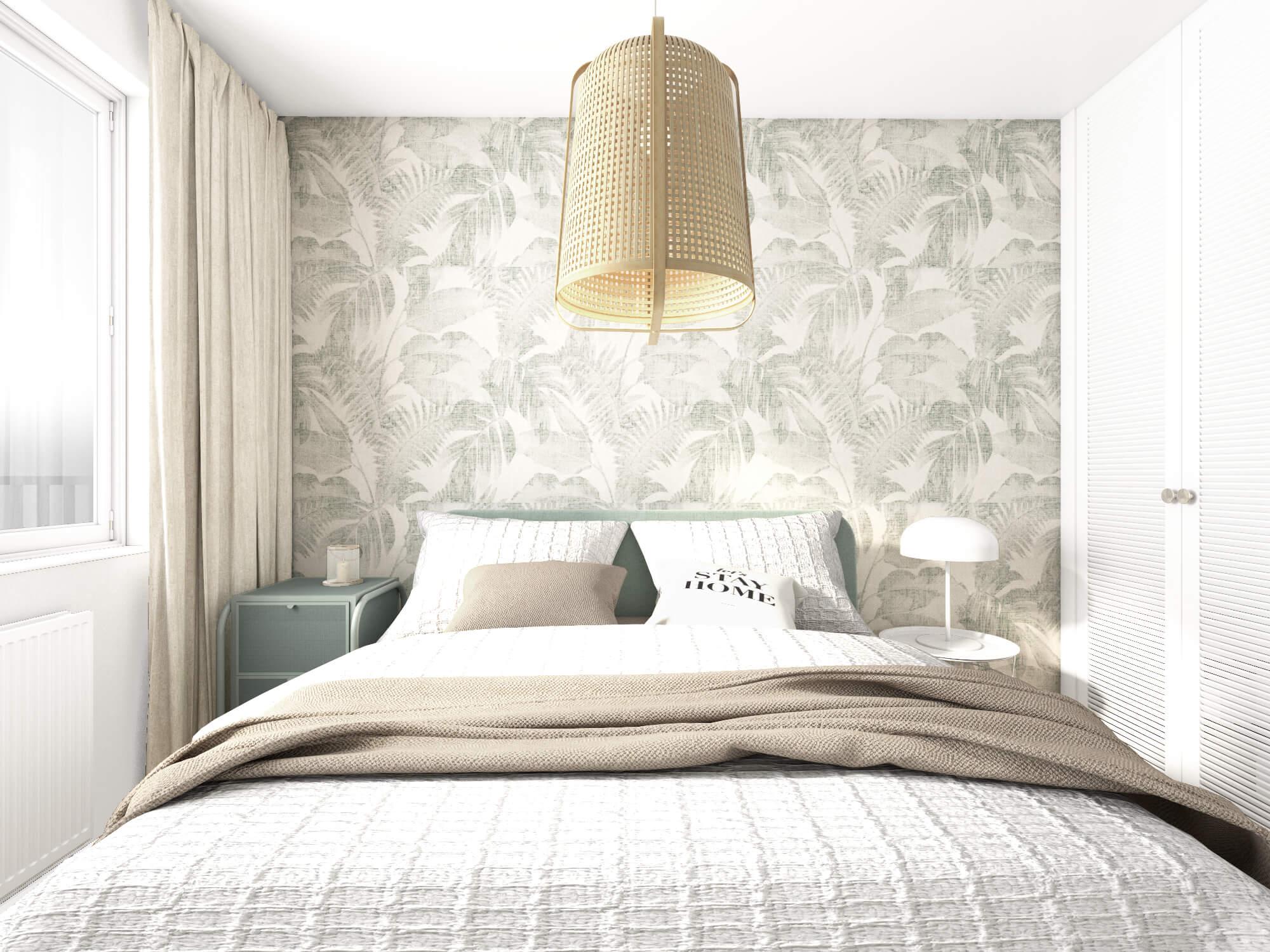 Sypialnia z lampą w stylu boho