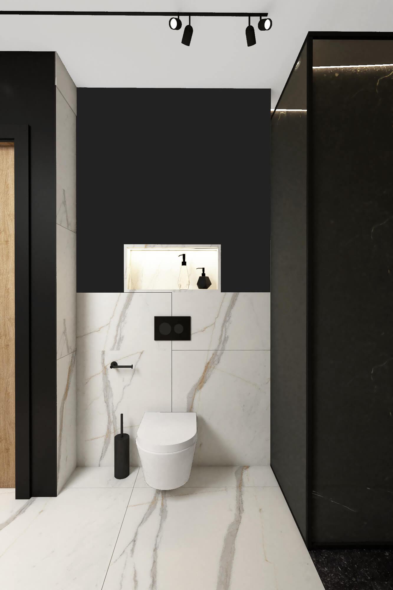 Toaleta w łazience na poddaszu