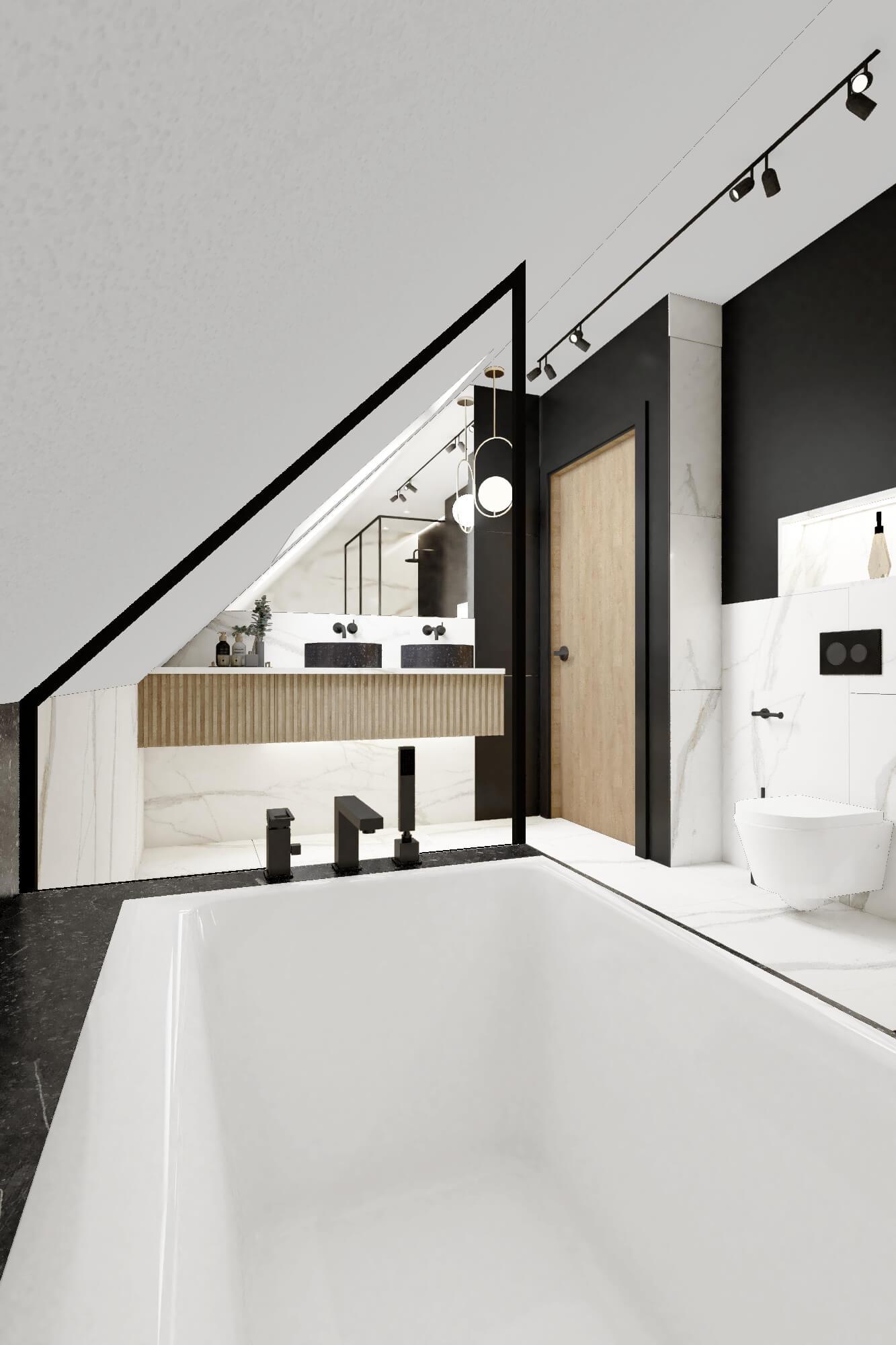Wanna w łazience ze skosem