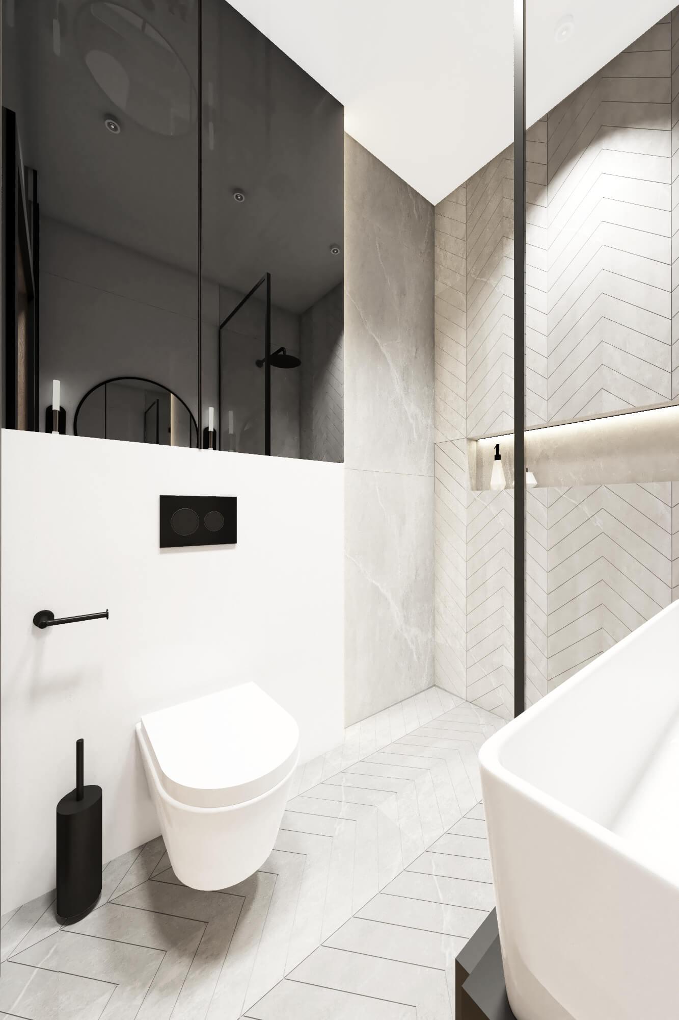 Mała łazienka z czarnym lustrem