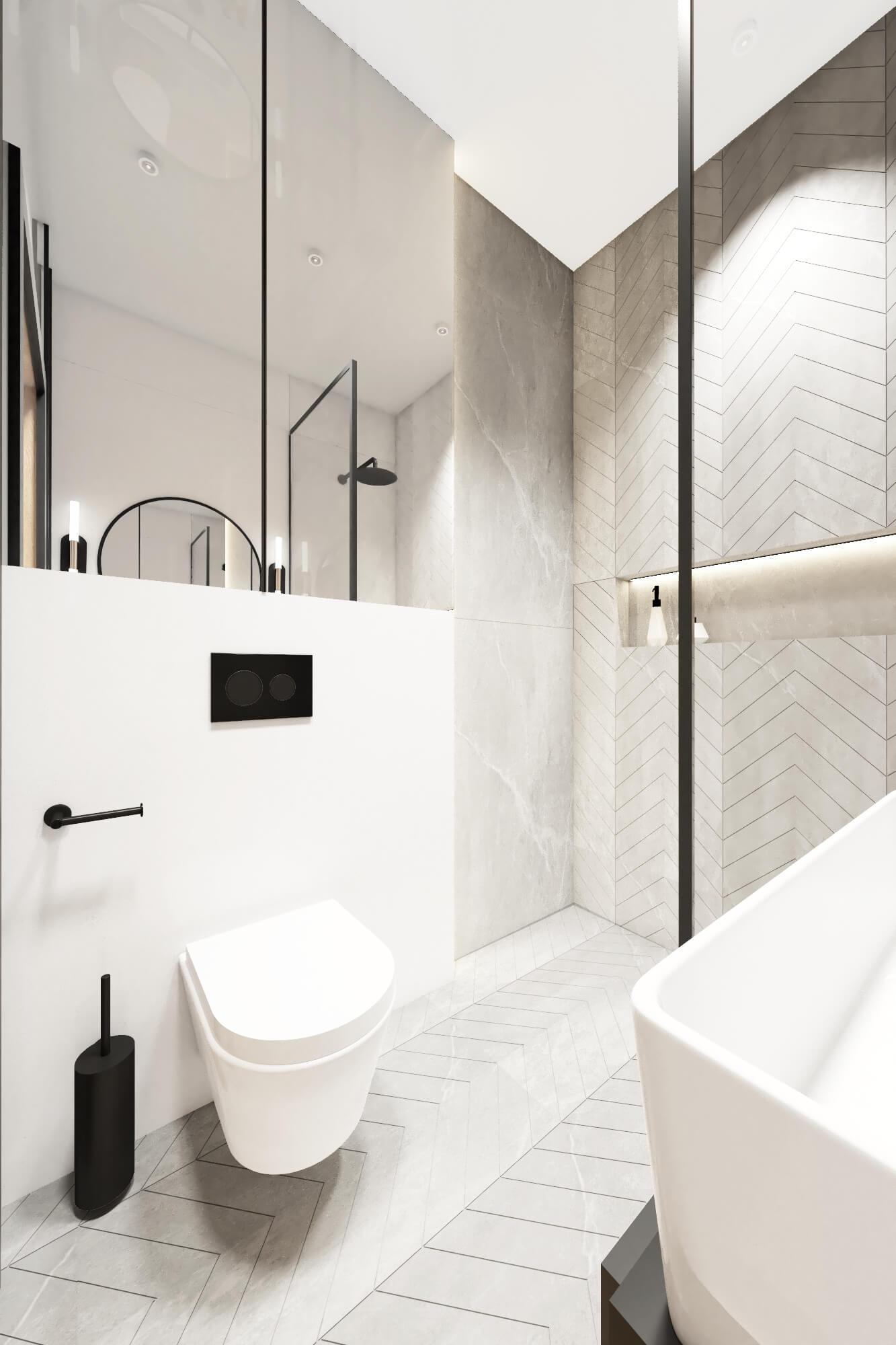 Mała łazienka z lustrem