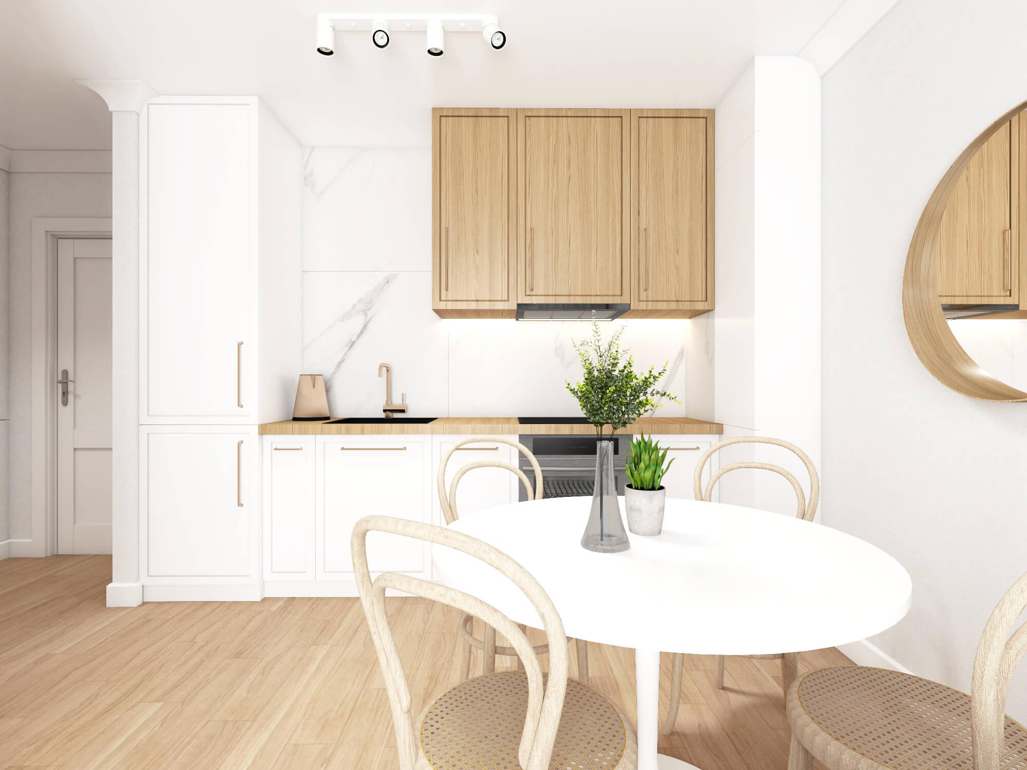 Biało drewniana kuchnia w mieszkaniu