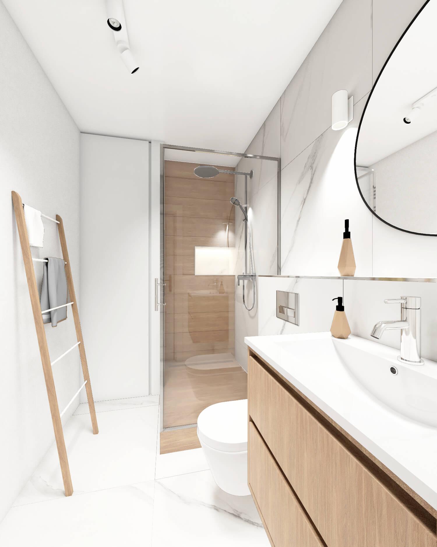 Biało drewniana łazienka z marmurową płytką