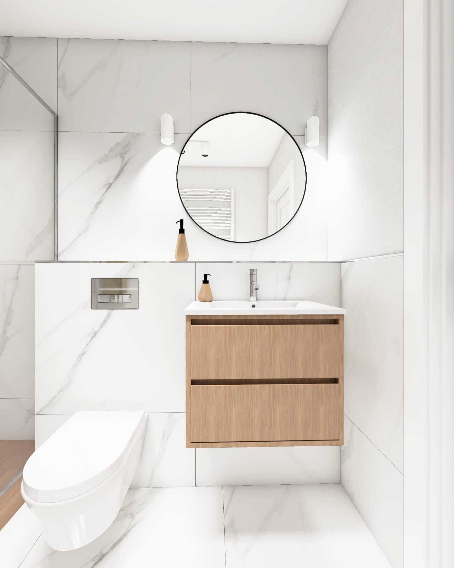 Łazienka z marmurową płytką