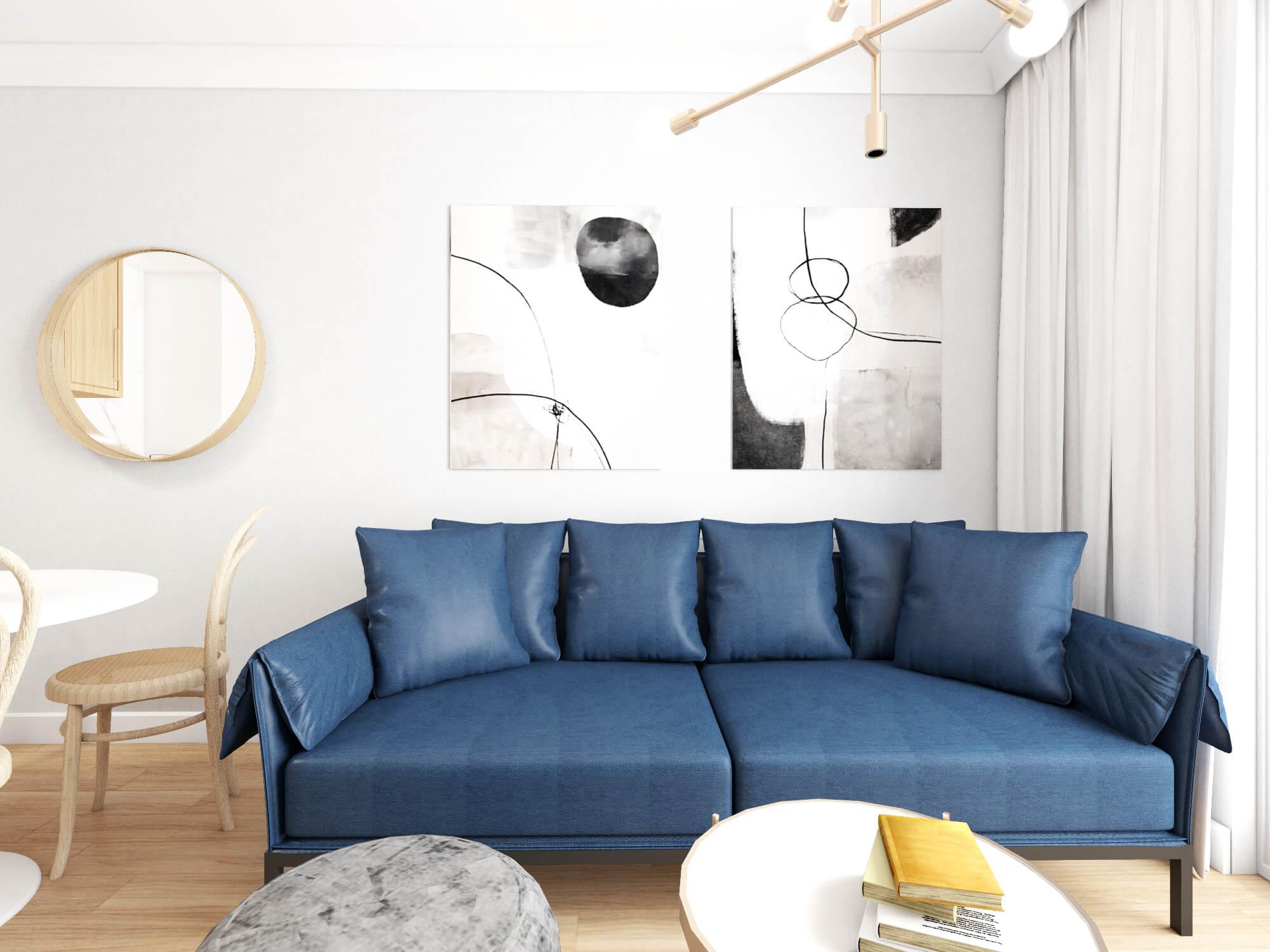 Salon z kolorową kanapą