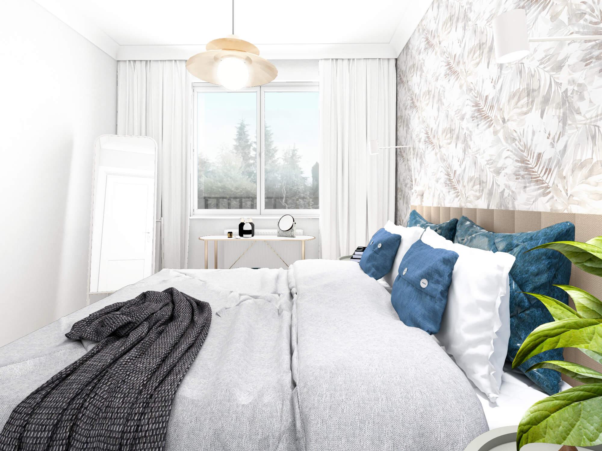 Sypialnia z tapetą za łóżkiem