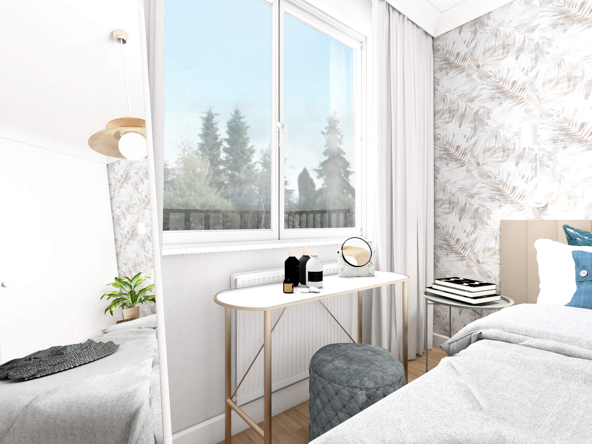 Sypialnia z toaletką przy oknie